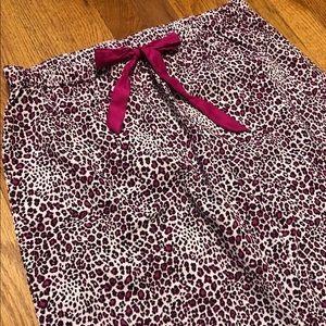 Pink Leopard Print Capri Pajama Bottoms - Size M
